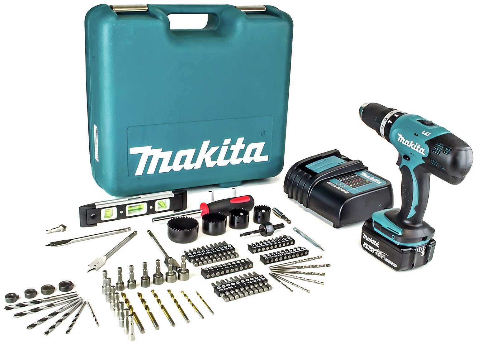 sale on makita lxt 18v 3ah cordless combi drill with 101 accessories makita 0088381826921. Black Bedroom Furniture Sets. Home Design Ideas