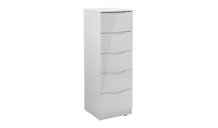 Legato 5 Drawer Tallboy - Grey Gloss