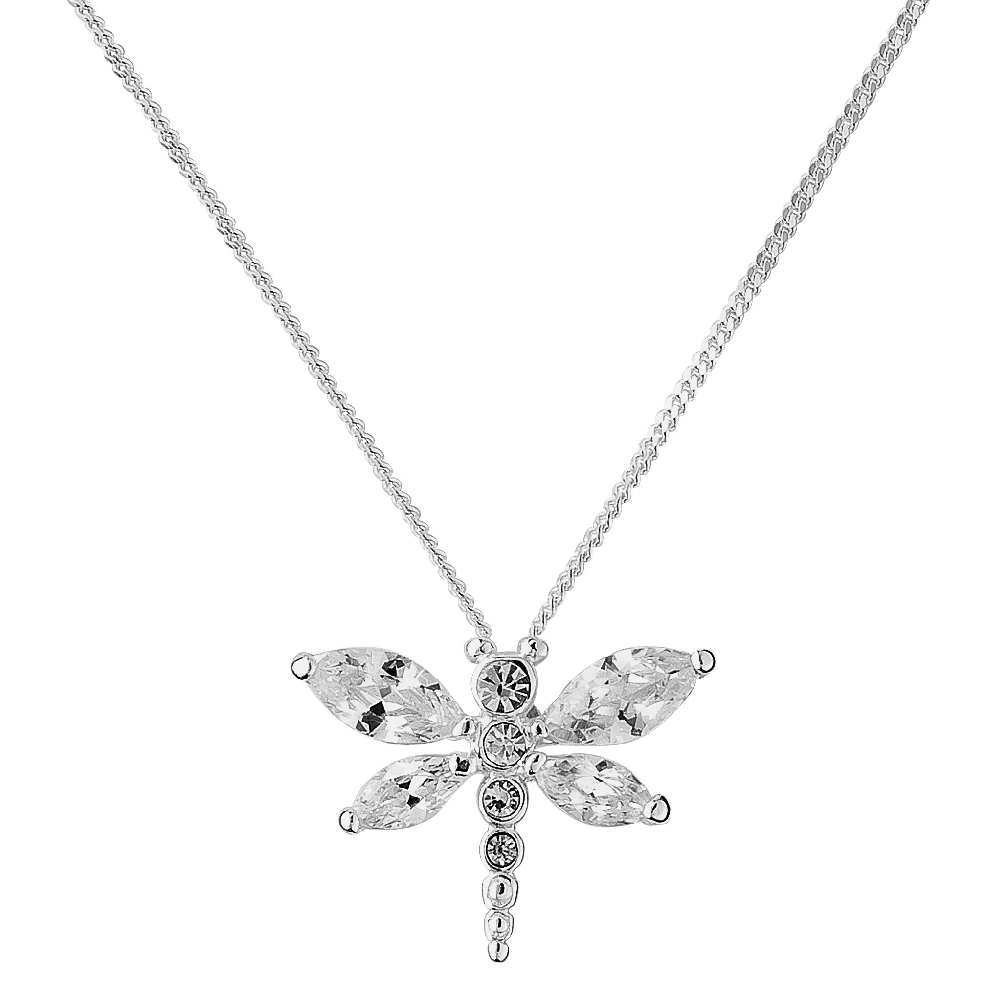 Revere Silver Dragonfly Pendant 18 Inch Necklace