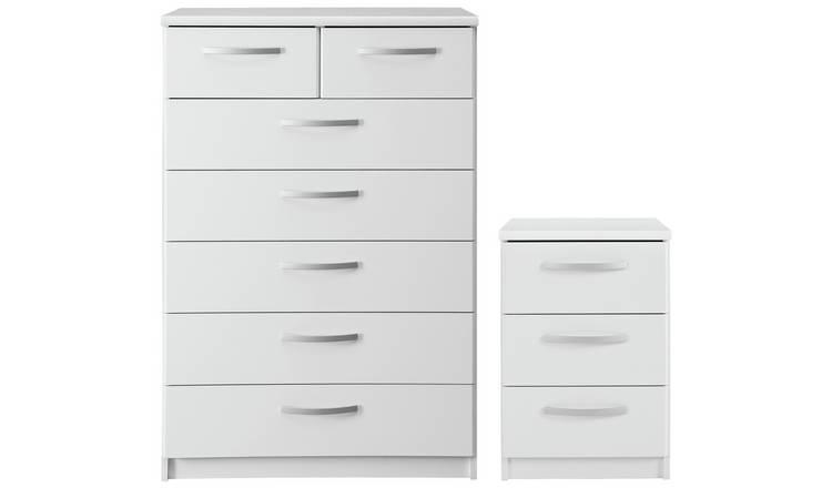 Buy Argos Home Hallingford Bedside & 5+2 Drawer Package - White | Bedroom  furniture sets | Argos