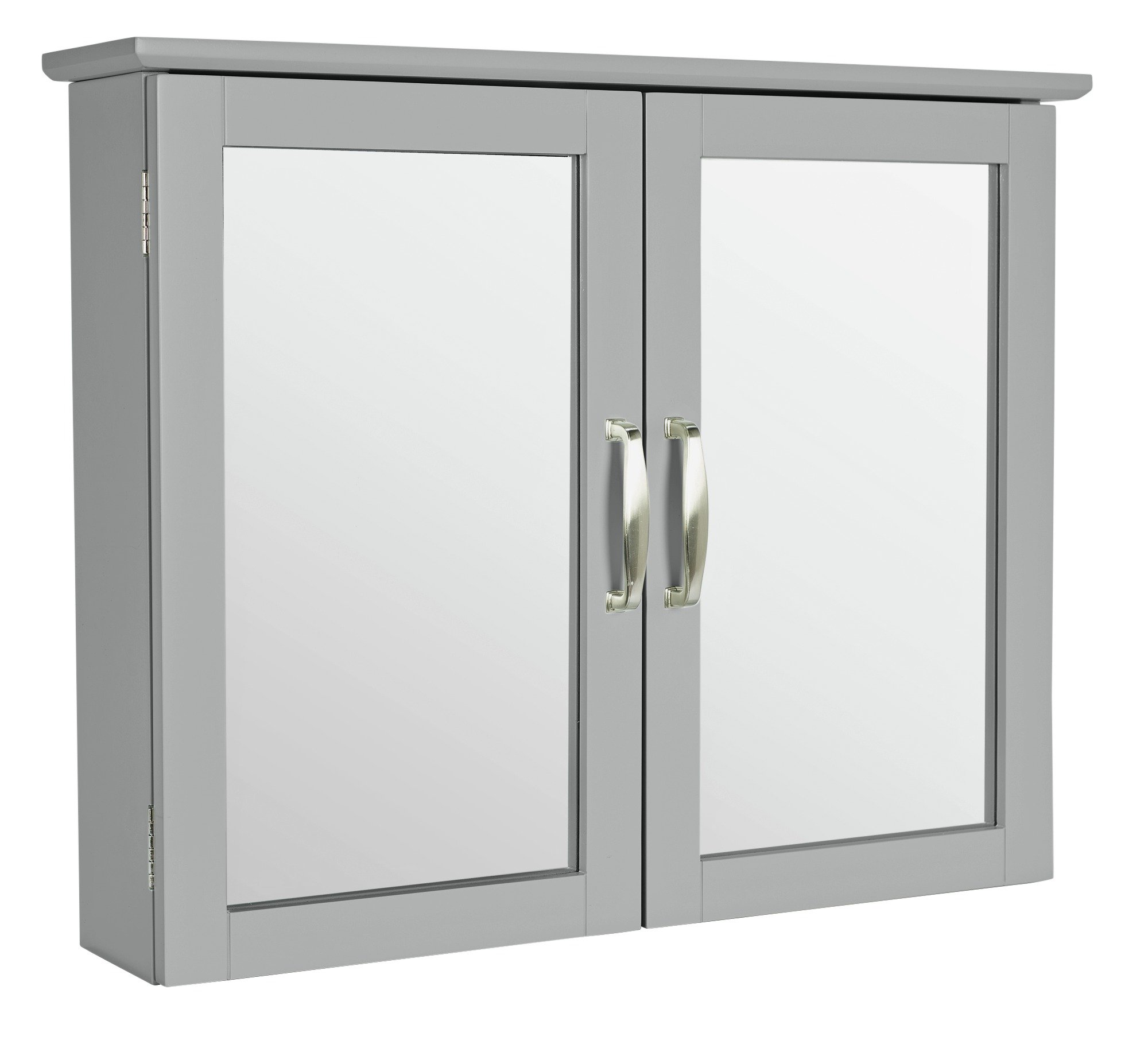 Image of Collection New Tongue and Groove Mirrored Wall Cabinet -Grey