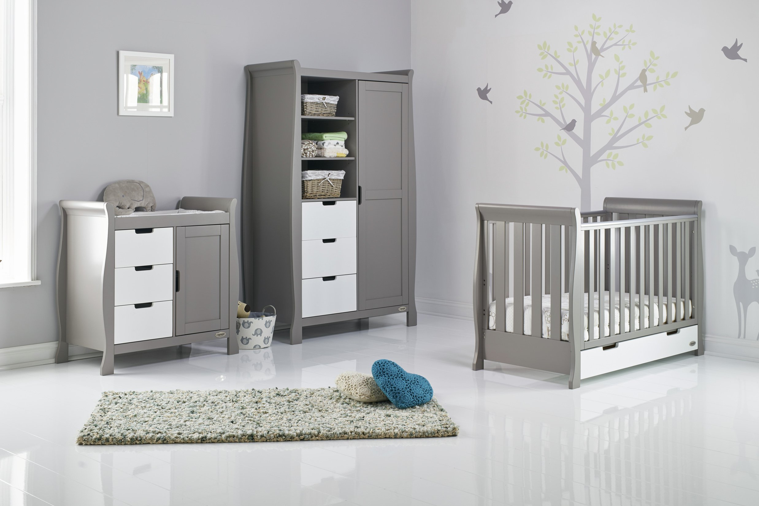 Obaby Stamford Mini Sleigh 3 Piece Room Set - Grey & White