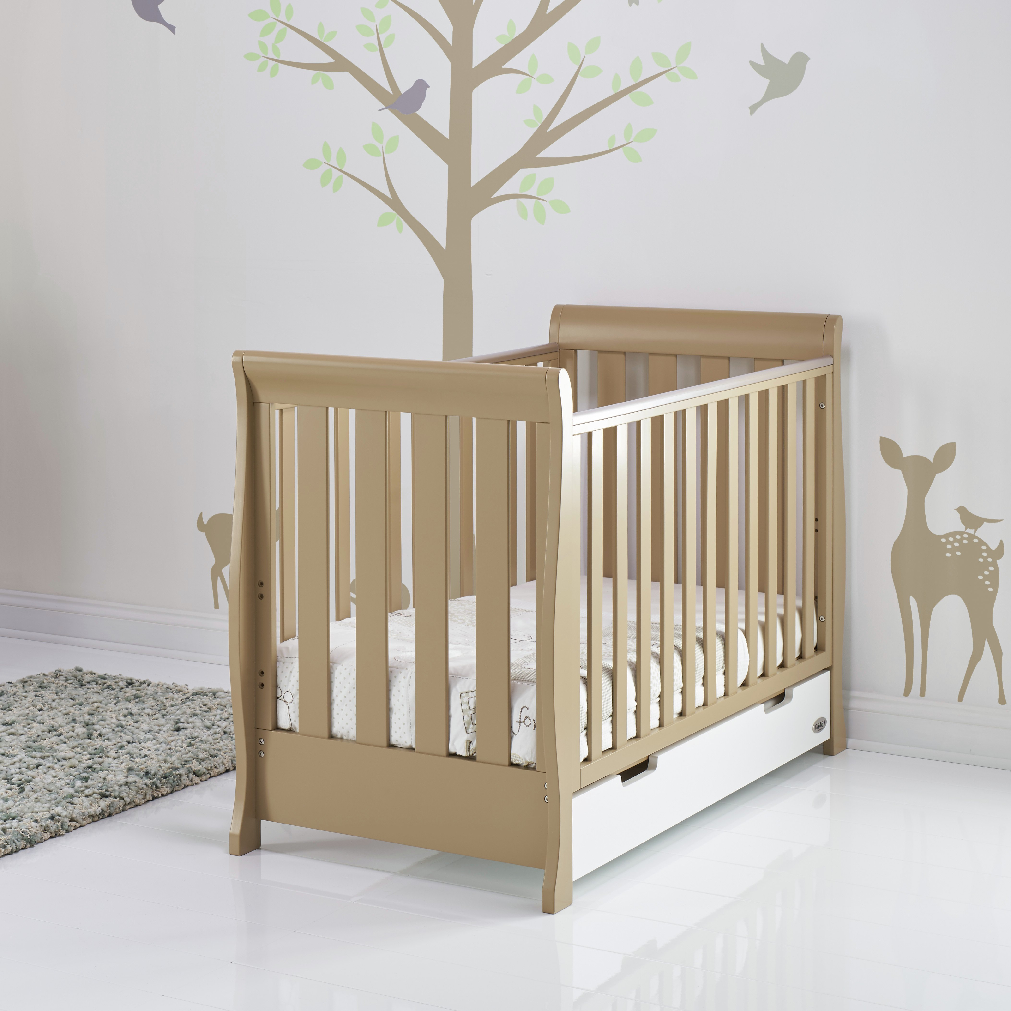 Image of Obaby Stamford Mini Retro Cot Bed - Iced Coffee with White