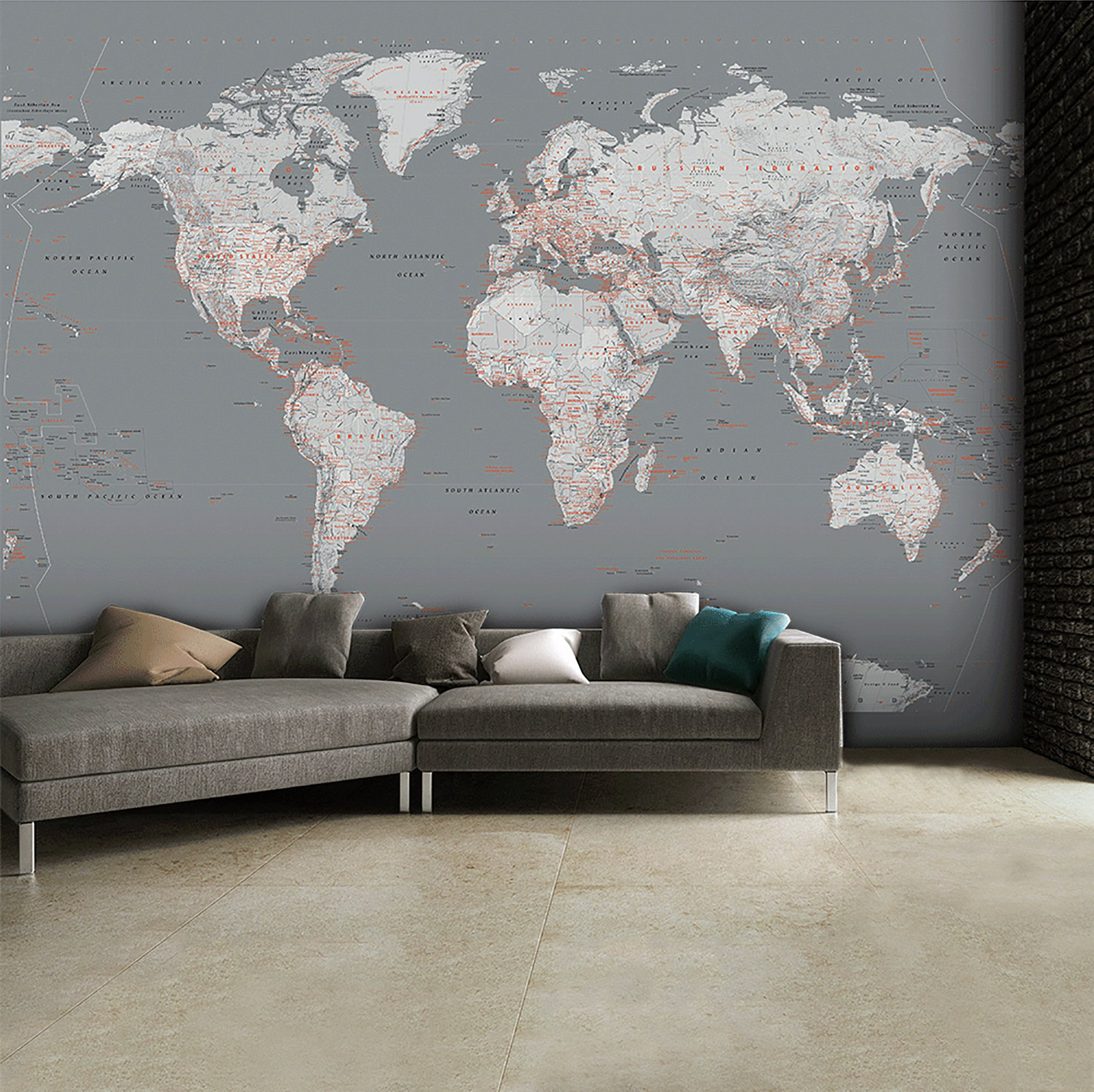 1Wall Grey Map of the World Mural