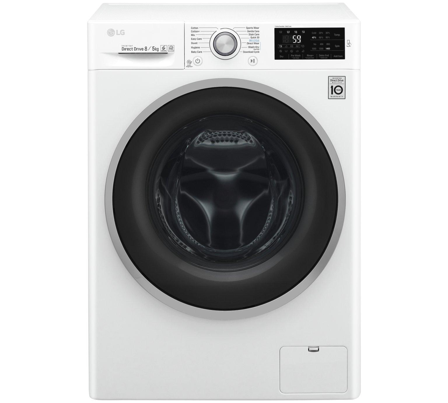 LG F4J6TM1W 8KG / 5KG 1400 Spin Washer Dryer - White by LG 724/1697