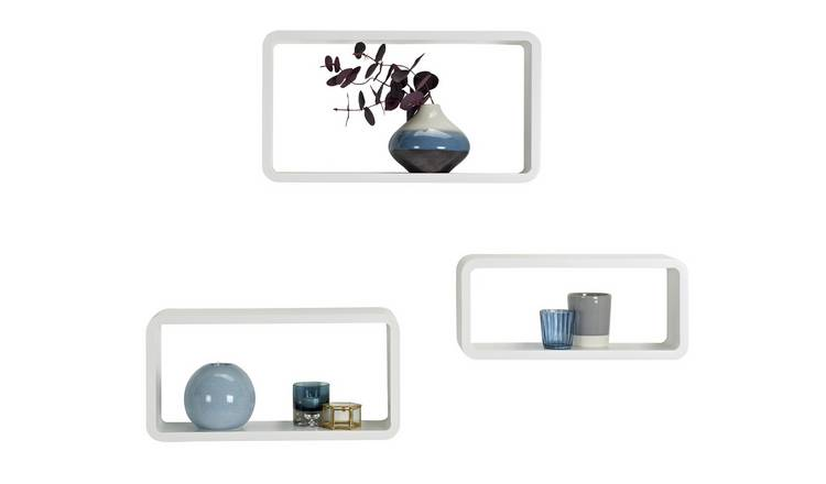 new arrival 1145f 1b63a Buy Argos Home Set of 3 Cubes - White | Wall mounted and floating shelves |  Argos