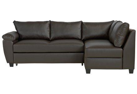 Collection Fernando Leather Eff Right Corner Sofa Bed - Choc