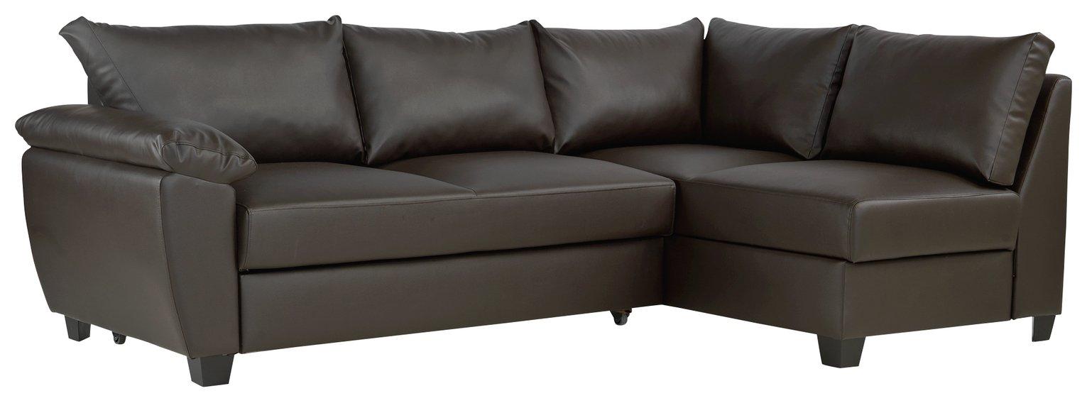 Argos Home Fernando Right Corner Sofa Bed - Dark Brown