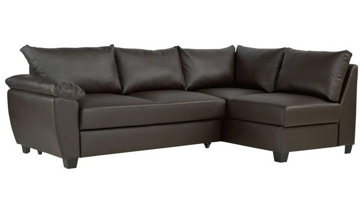Buy Argos Home Fernando Right Corner Sofa Bed - Dark Brown | Sofa ...