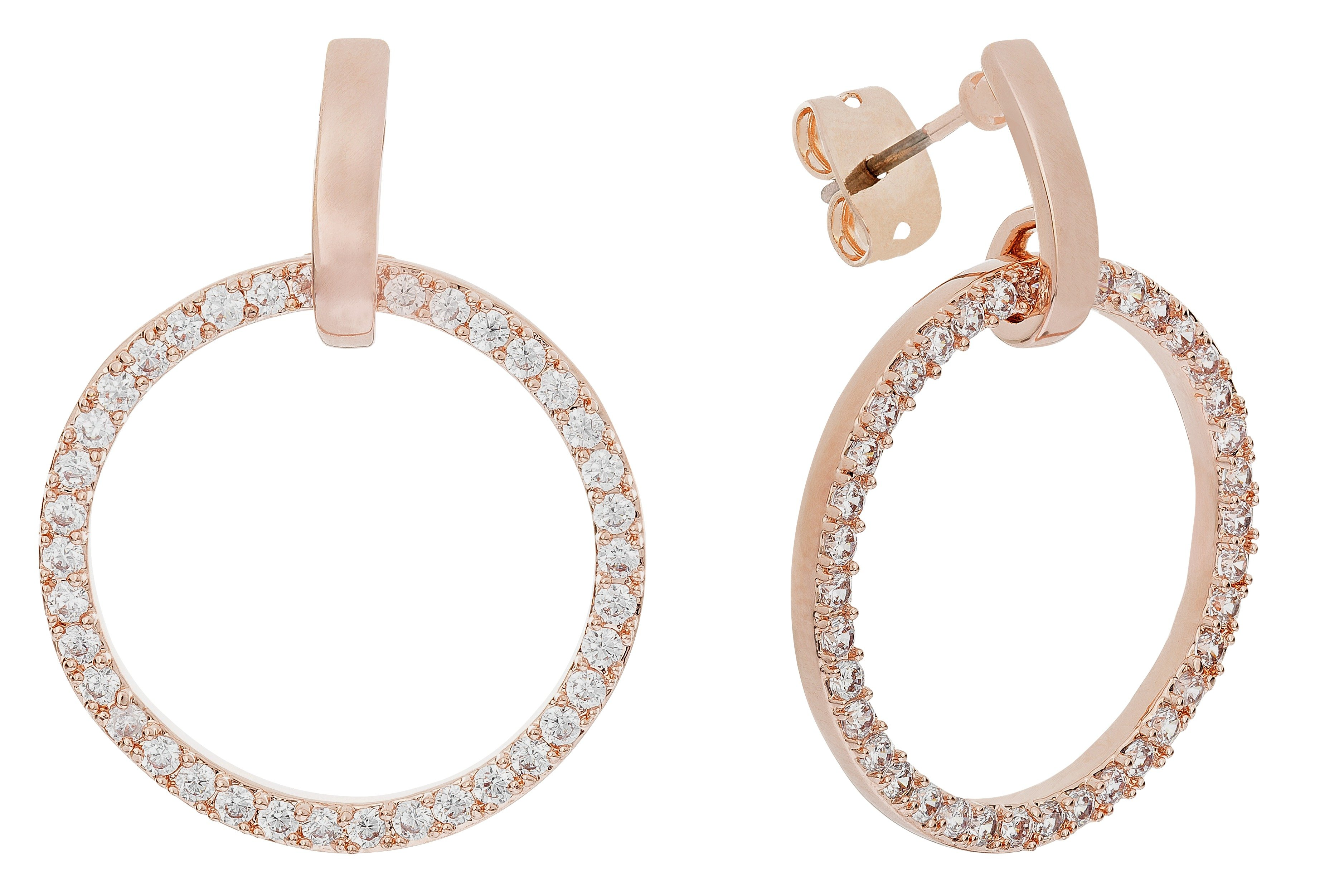 Image of Abbey Clancy Rose Gold Colour CZ Circle Drop Earrings