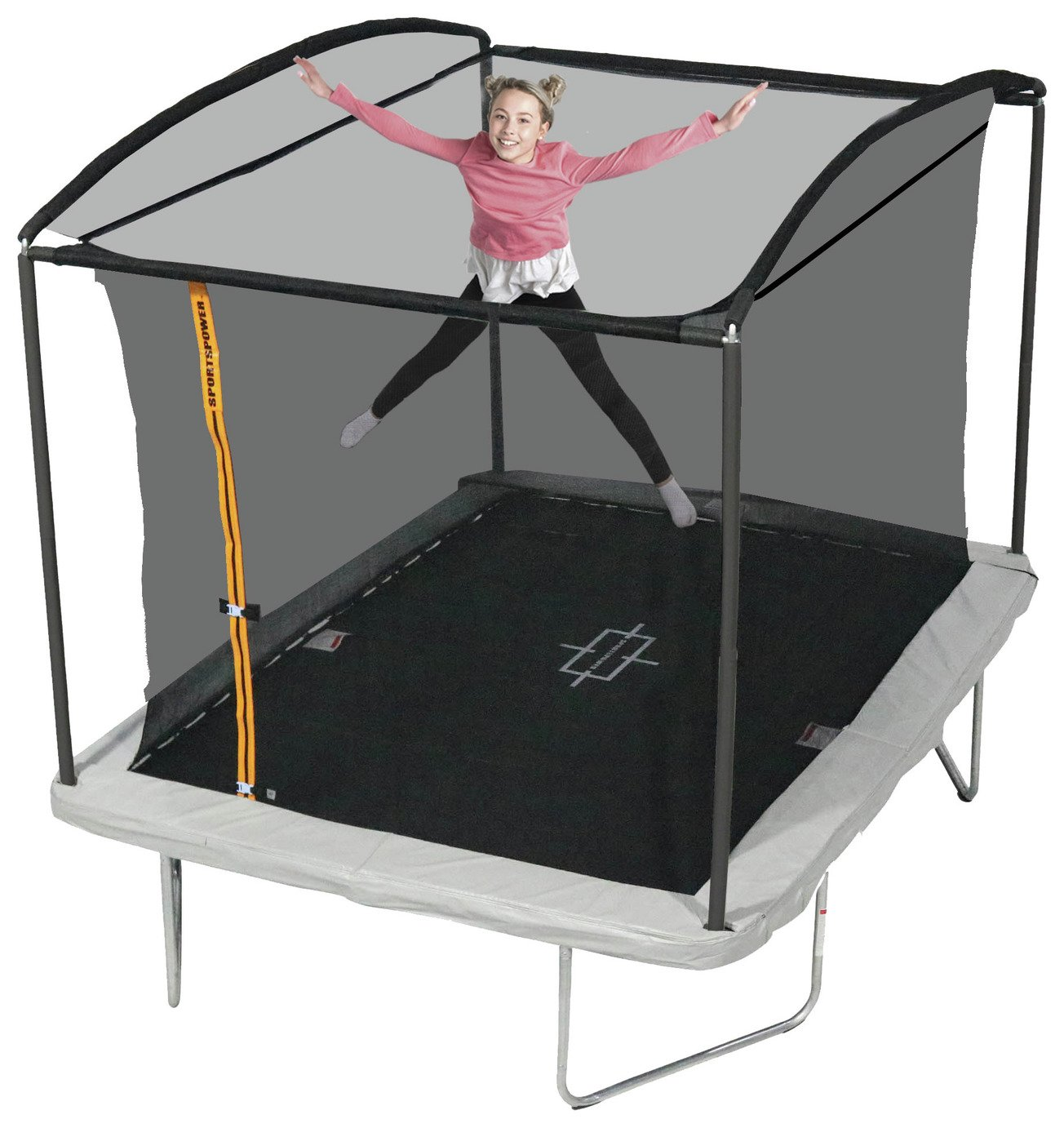 sportspower 10ft x 8ft rectangular trampoline and enclosure.