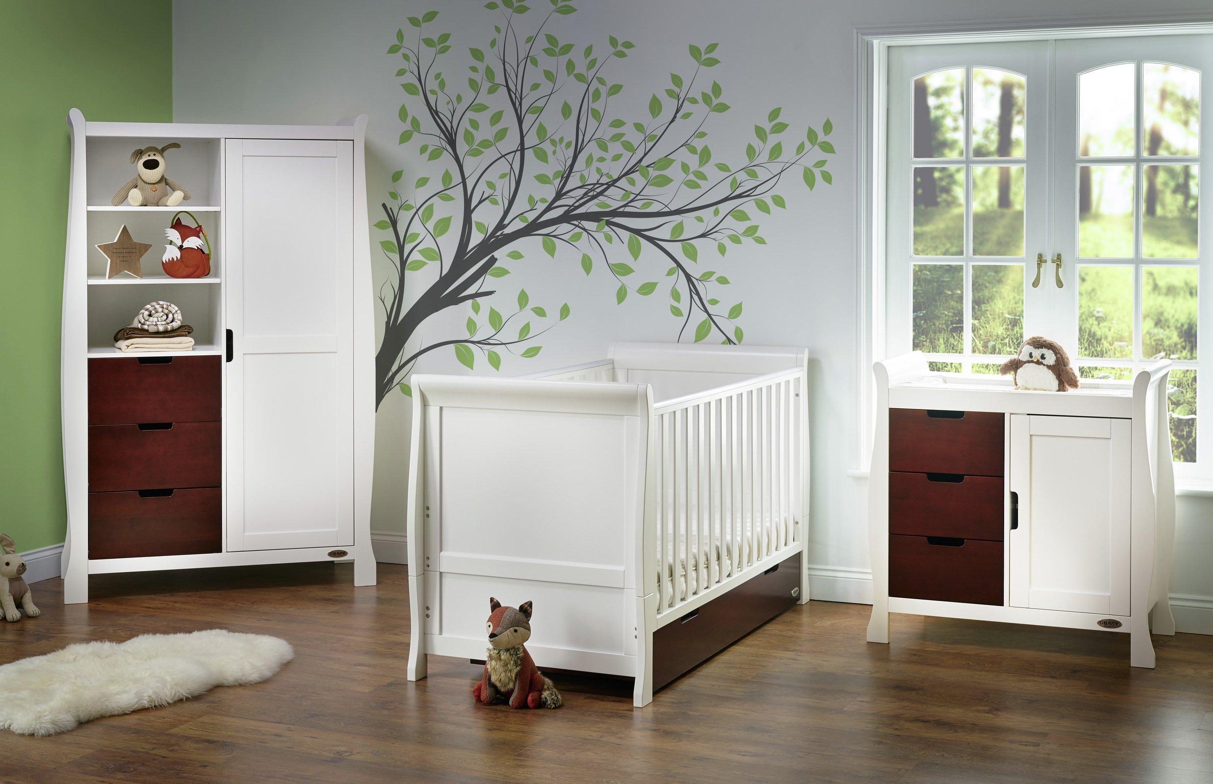 Obaby Stamford 3 Piece Room Set - White with Walnut