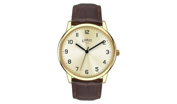 Limit Men's Brown Faux Leather Strap Watch
