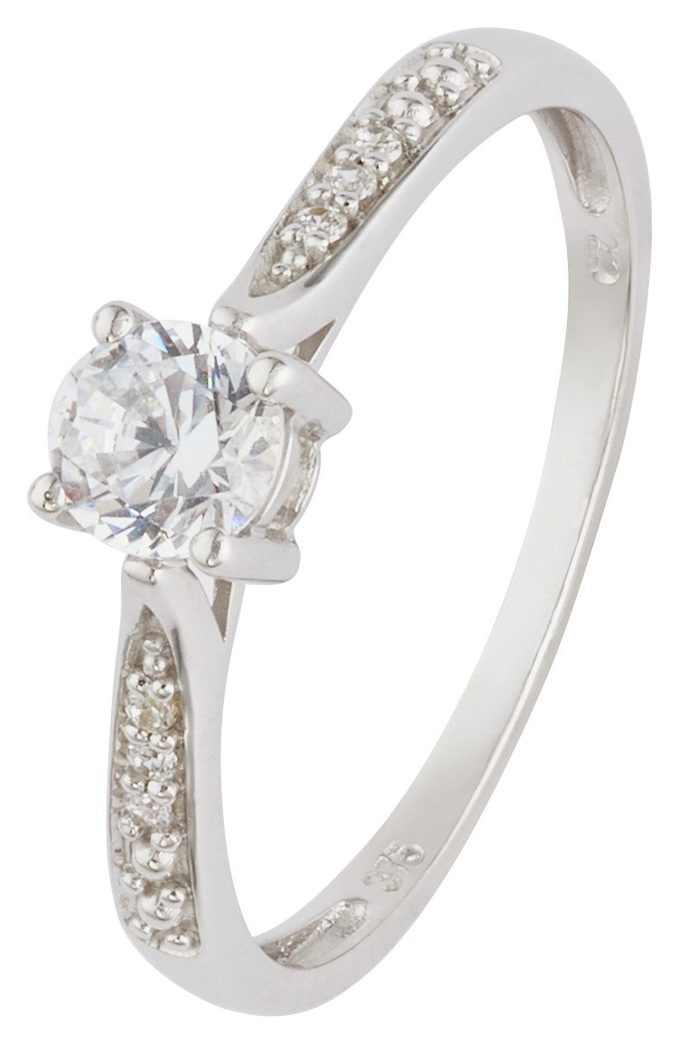 Revere 9ct White Gold CZ Solitaire and CZ Shoulder Ring
