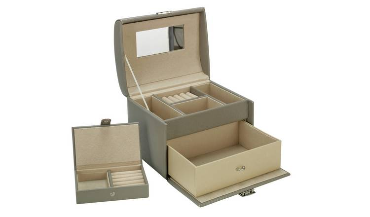 Grey Faux Leather Medium Jewellery Box with Travel Set