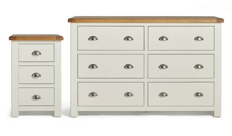 Habitat Kent Bedside & 3+3 Drawer Set - Cream & Oak