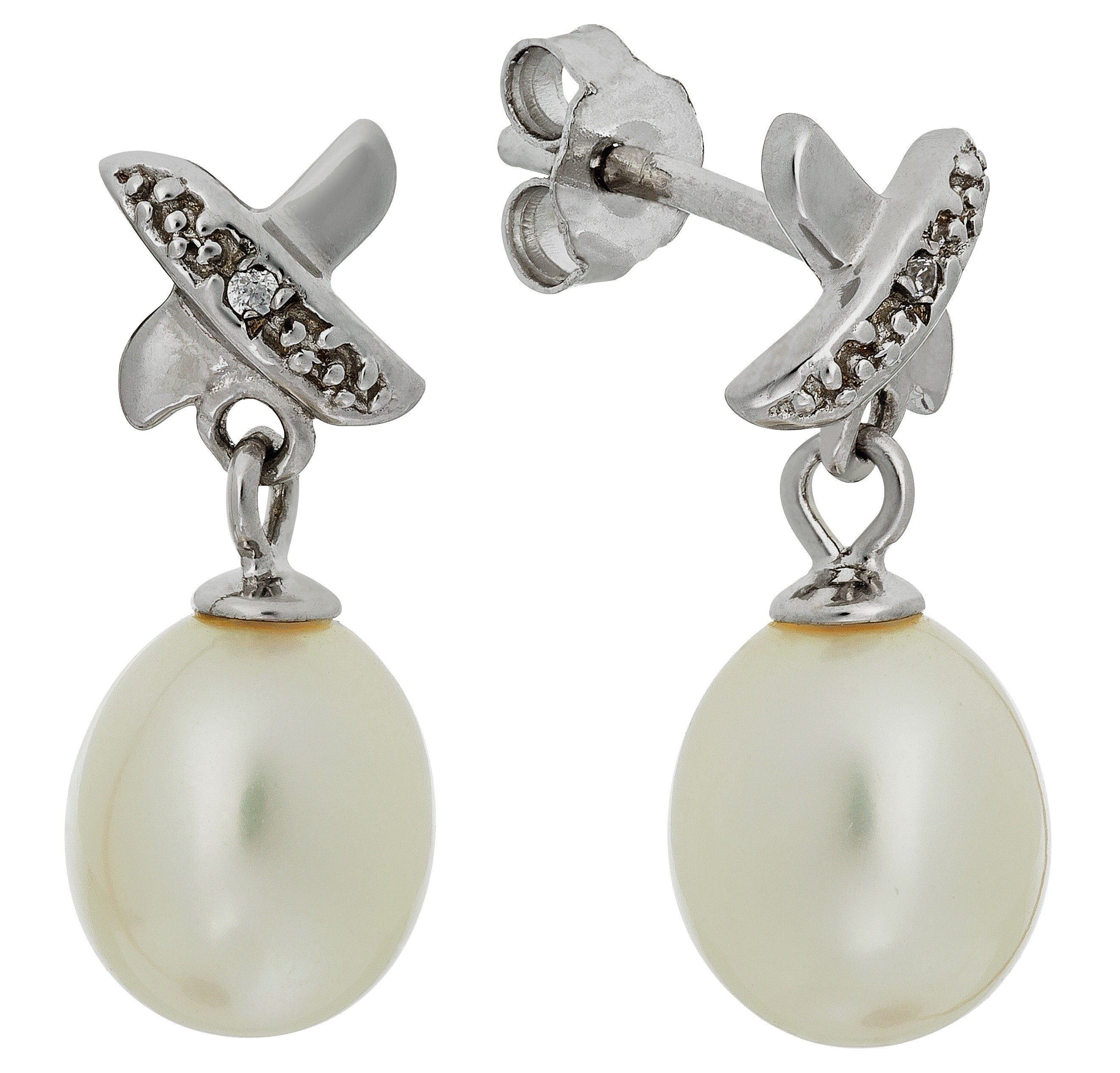 Revere Sterling Silver Freshwater Pearl & CZ Kiss Earrings