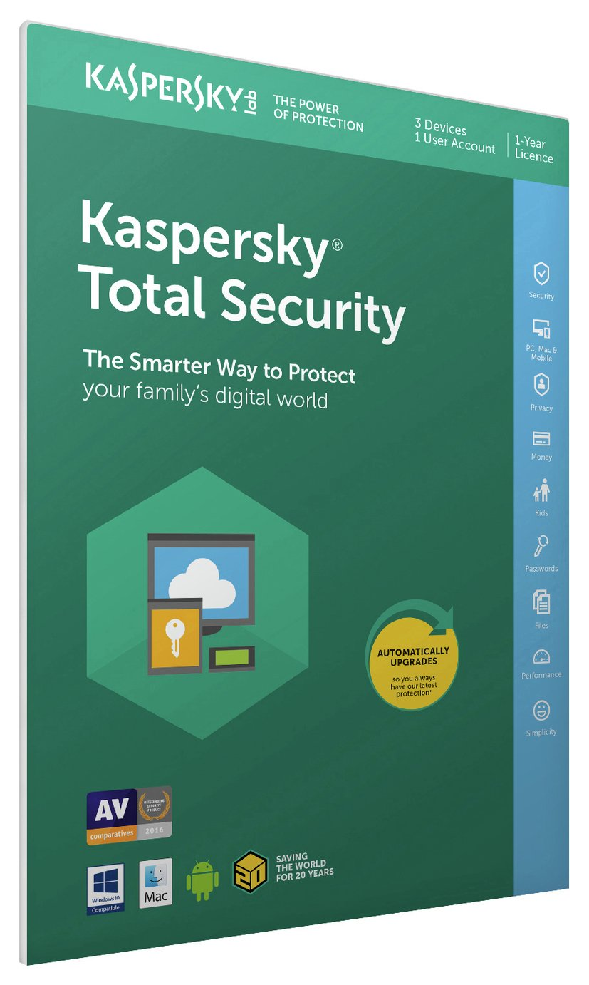 Image of Kaspersky Total Security 2017 - 3 Devices, 1 Year License