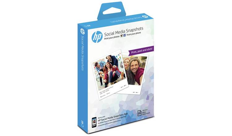 Buy HP Social Media Snapshots Photo Sticker Paper - 25 Sheet | Limited  stock Technology | Argos