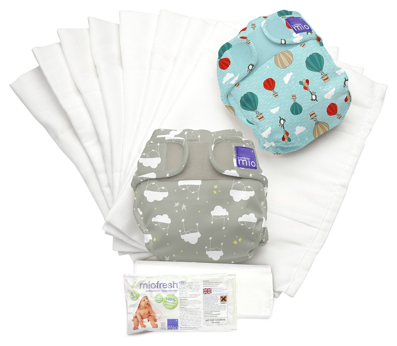 Image of Bambino Mio Miosoft Reusable Nappy Dream Traveller - Grey & Blue