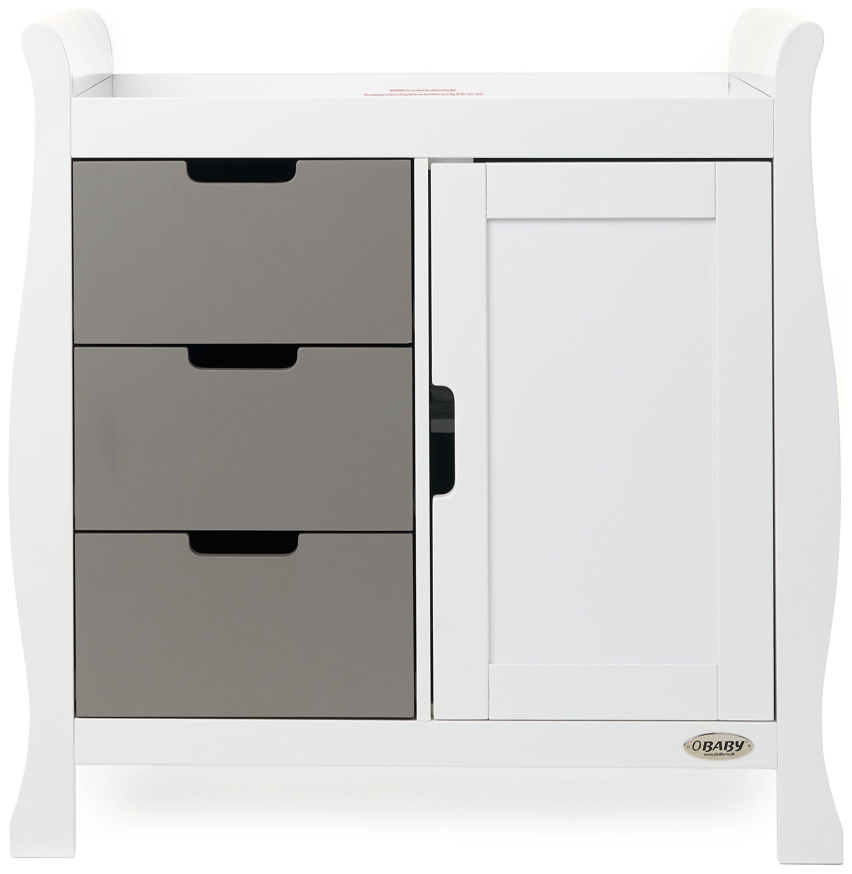 Obaby Stamford Sleigh Changing Unit - White & Taupe Grey