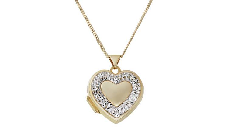 Moon & Back 9ct Gold Plated Crystal Heart Locket