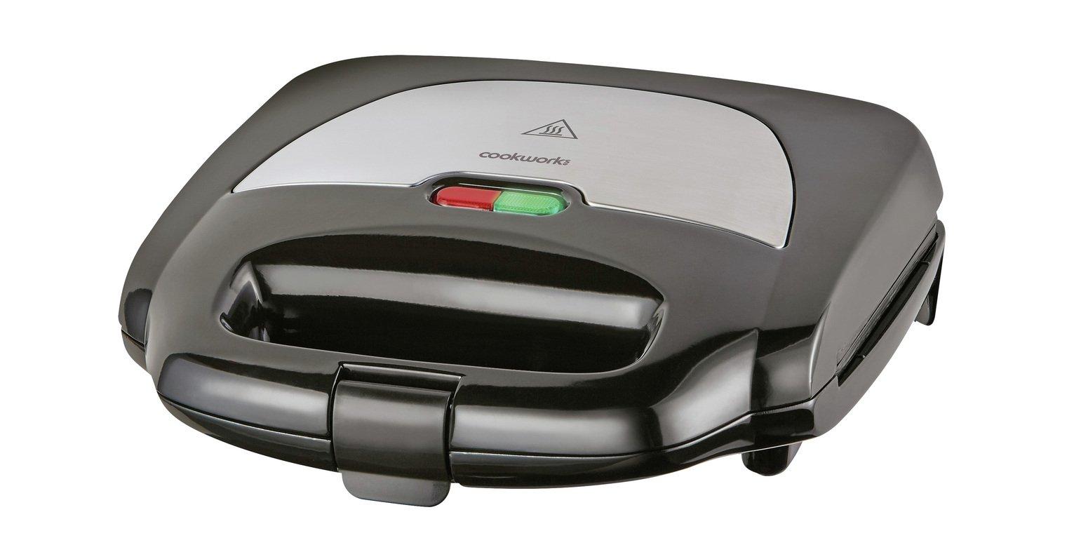 'Cookworks 2 Portion Sandwich Toaster - Black