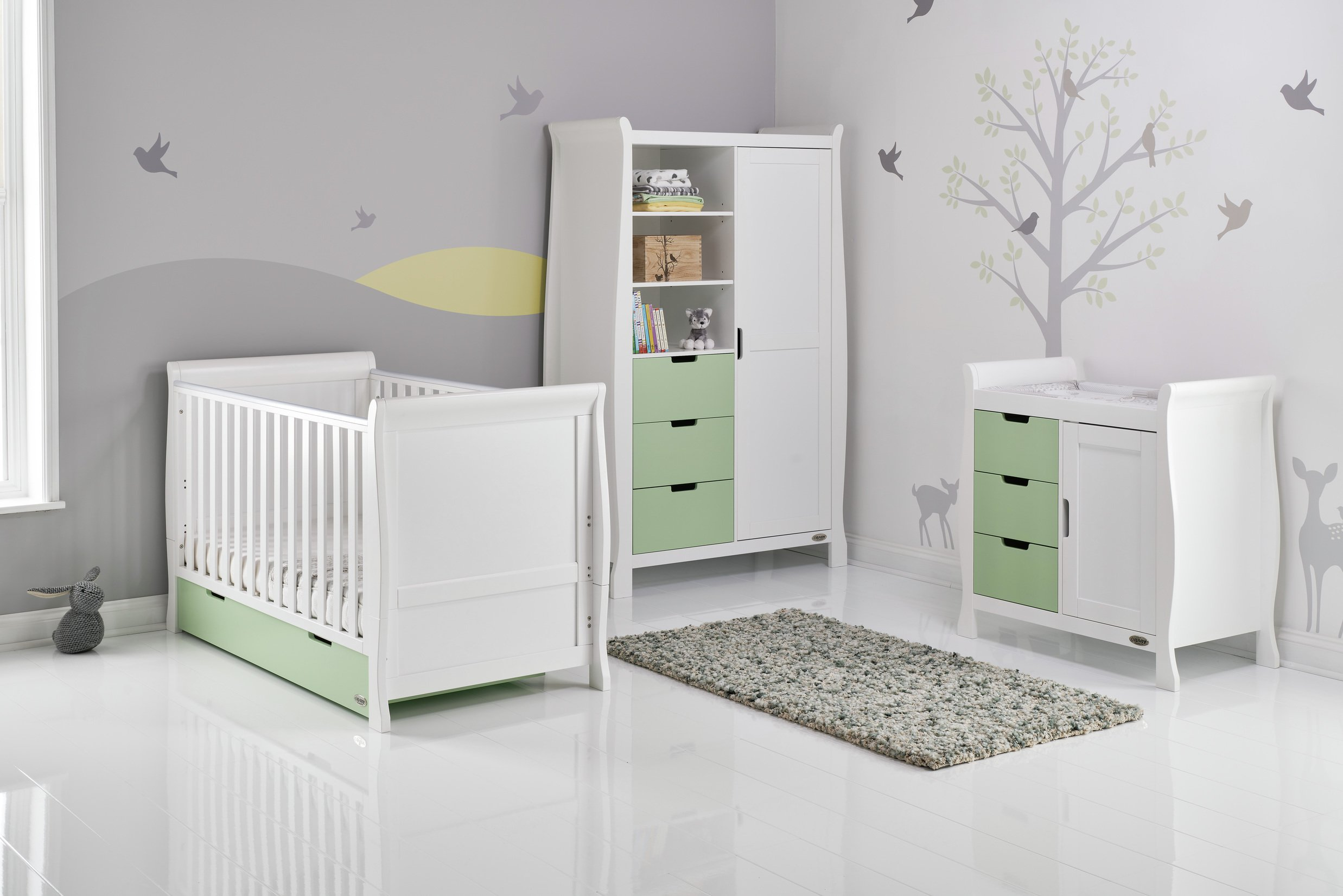 Obaby Stamford 3 Piece Room Set - White with Pistachio