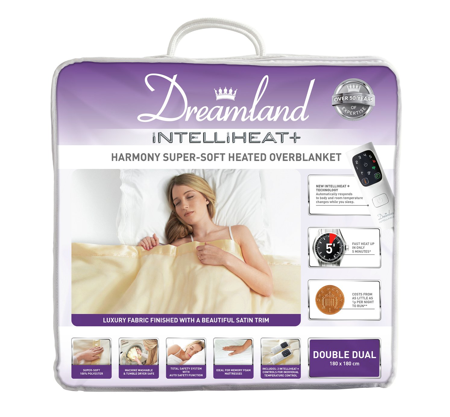 Dreamland Harmony Intelliheat Super-Soft Overblanket -Double