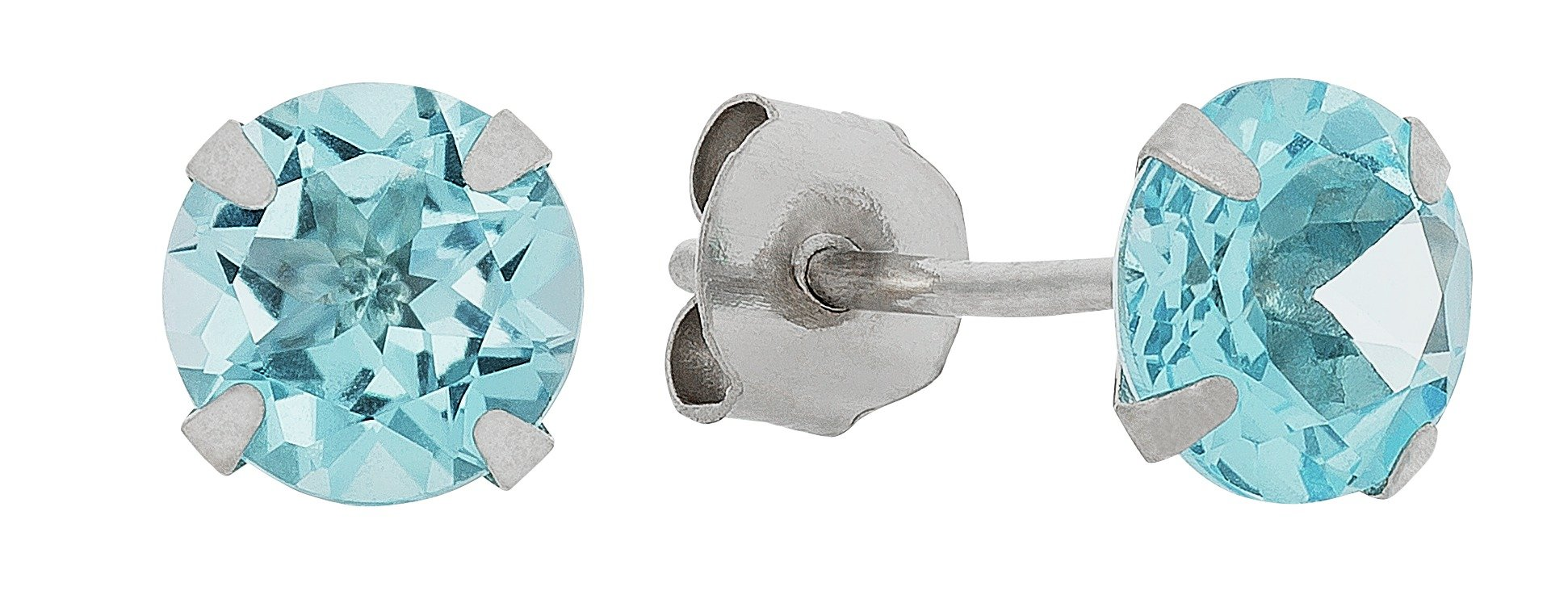 Revere 9ct White Gold 5mm Blue Topaz November Stud Earrings