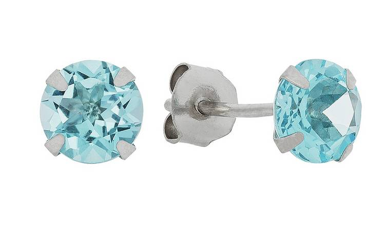 Revere 9ct White Gold 5mm Blue Topaz November Stud Earrings