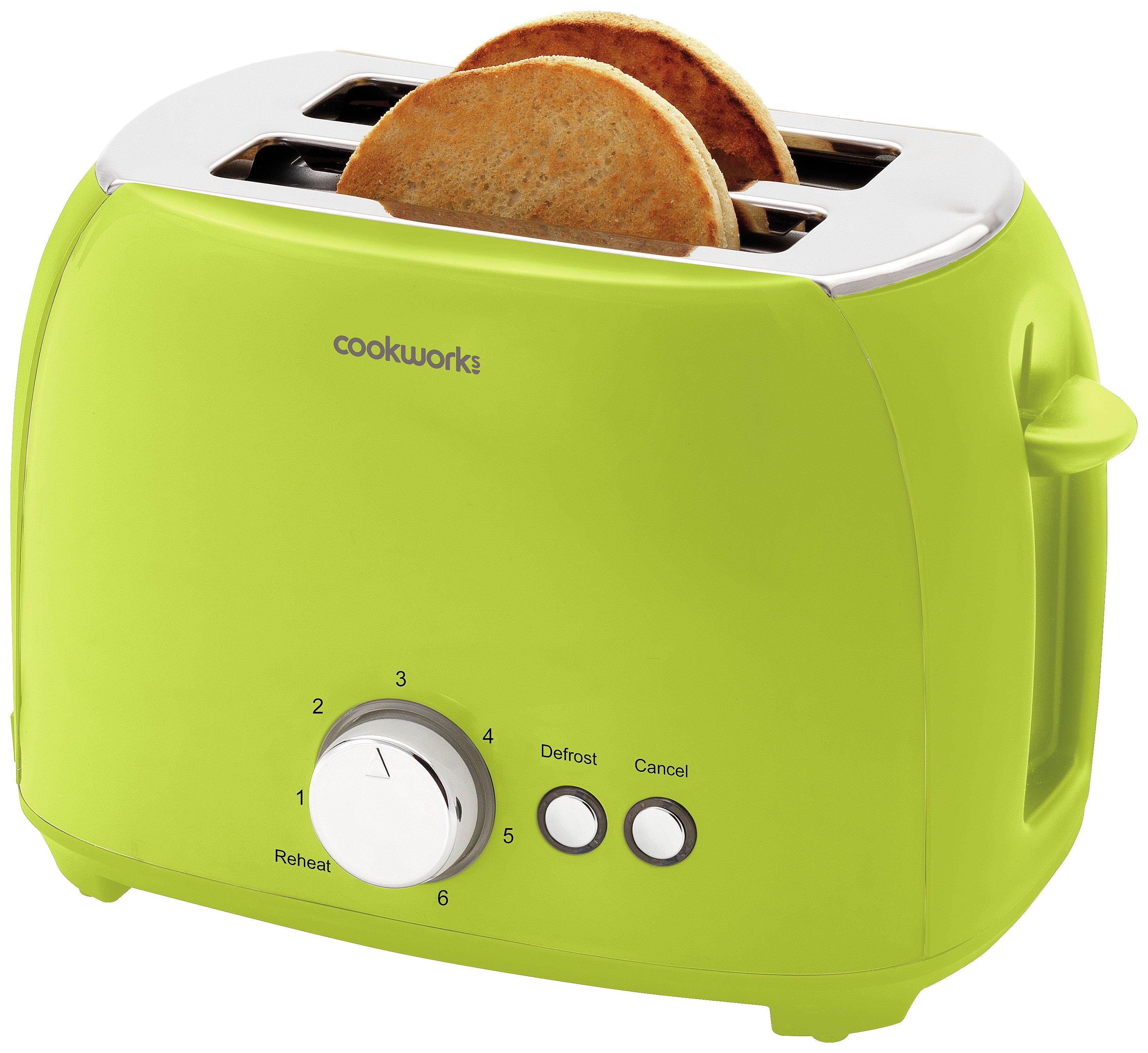'Cookworks 2 Slice Toaster - Green
