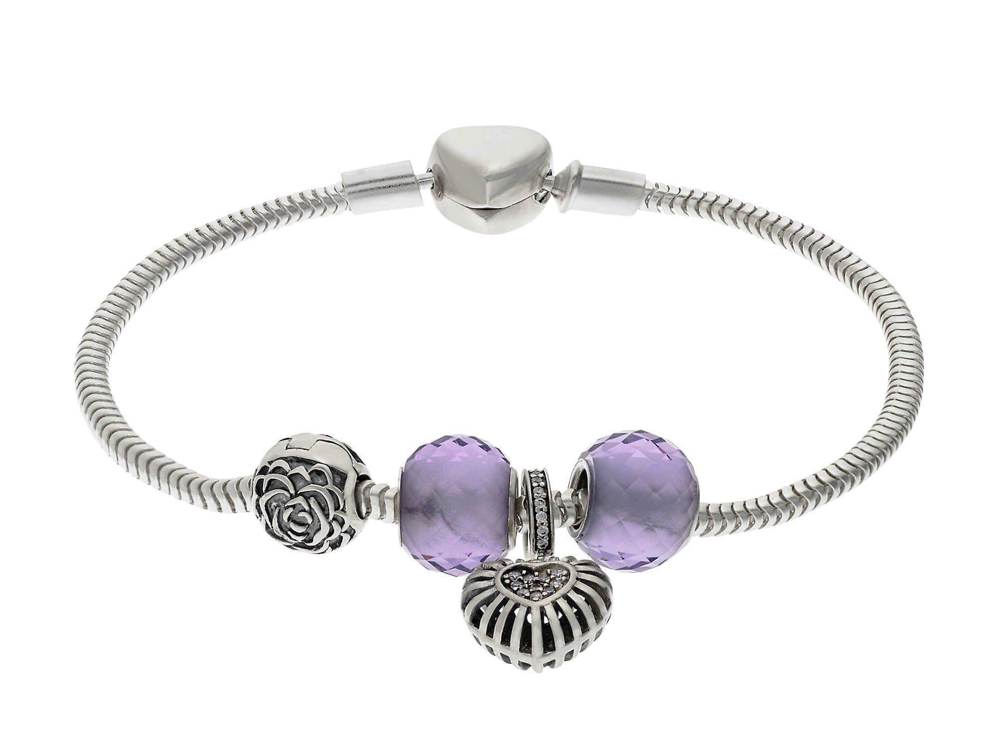 Moon & Back Sterling Silver Purple Made Up Charm Bracelet