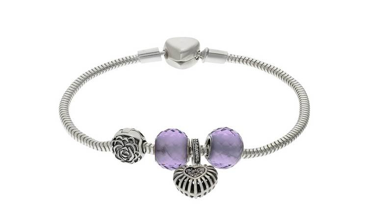 Moon & Back Sterling Silver Purple Made Up Charm Bracelet