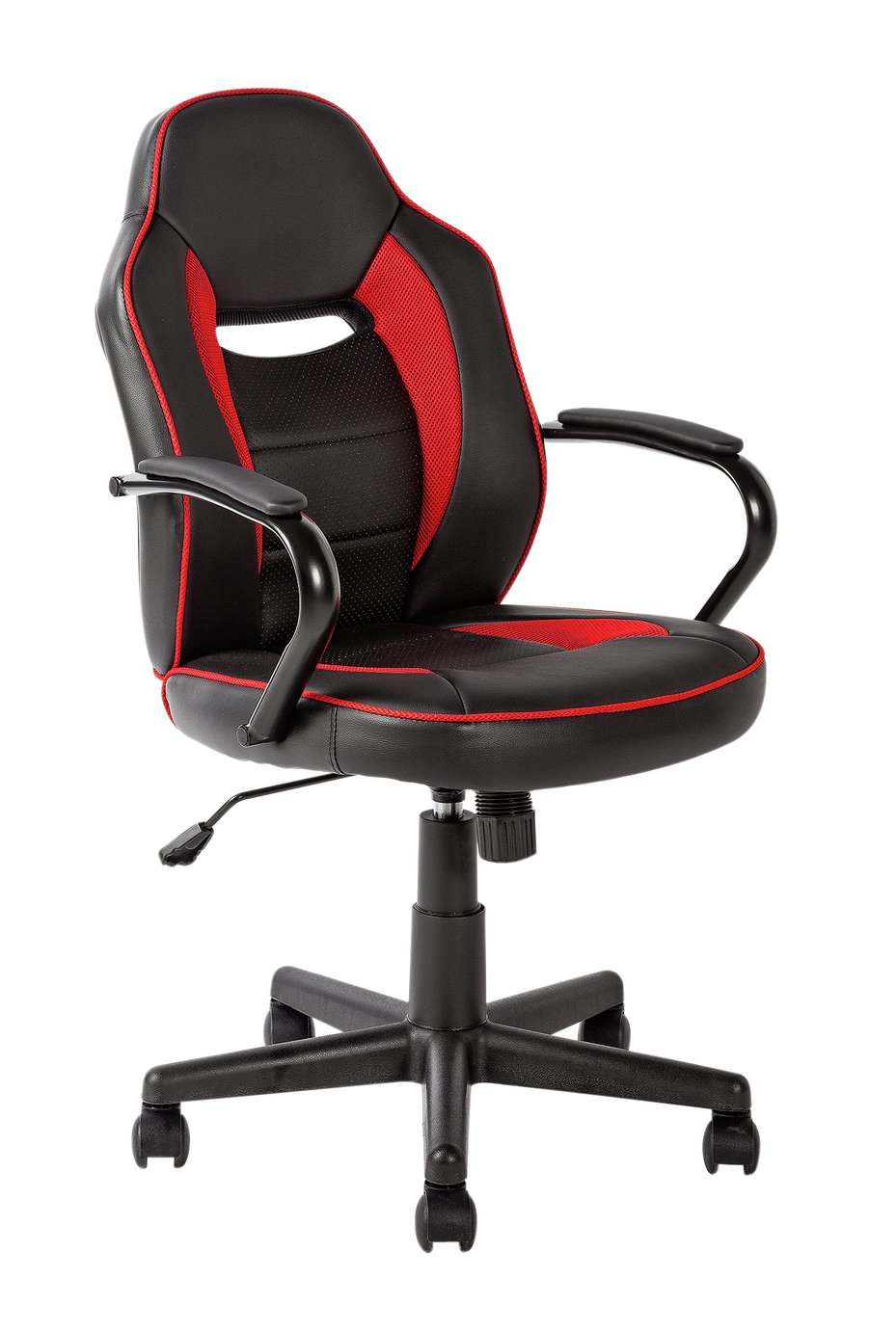 Argos Home Faux Leather Mid Back Gaming Chair - Red & Black