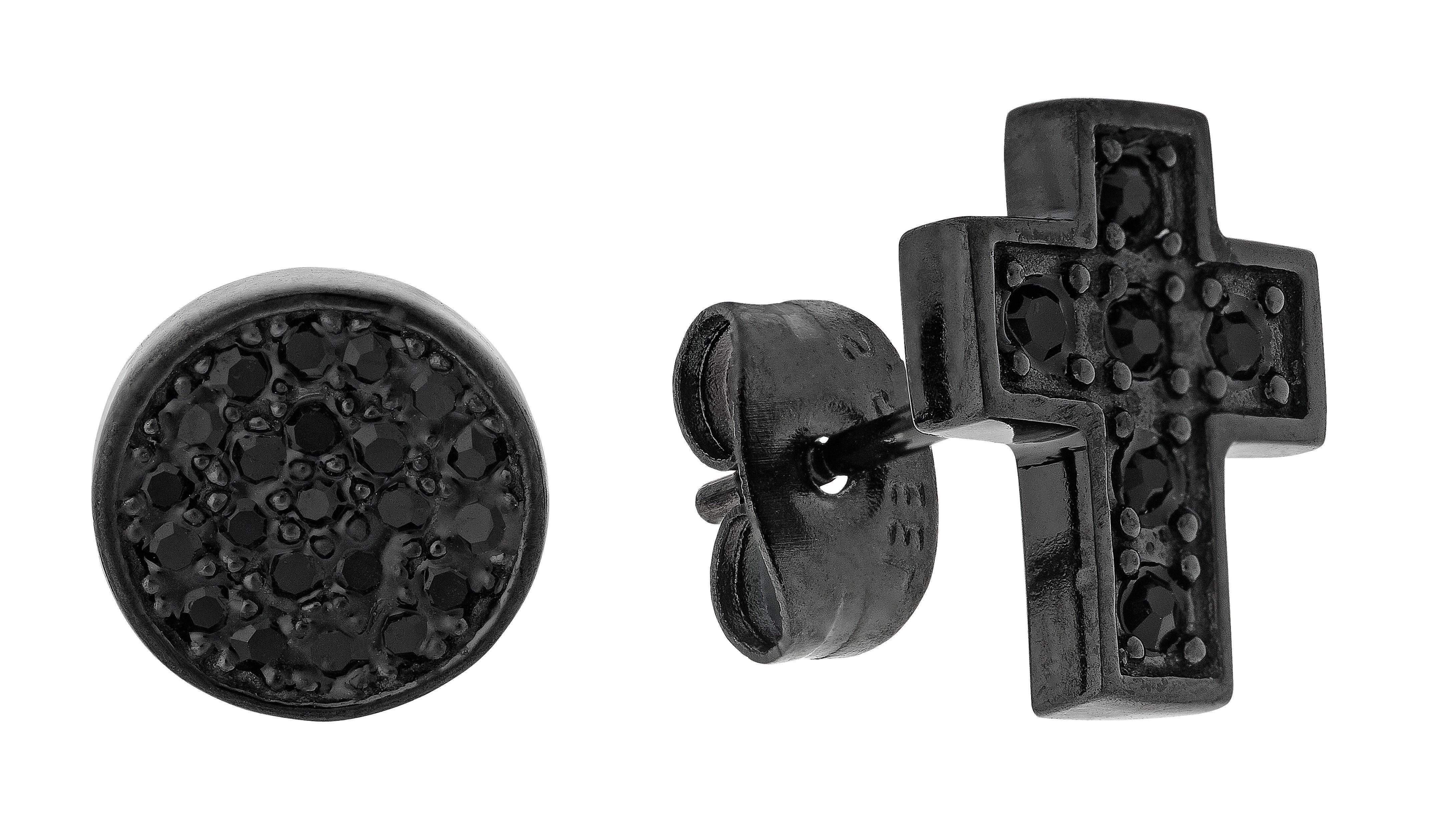 Revere Men's Stainless Steel Crystal Set of 2 Stud Earrings