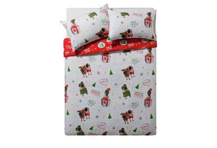 HOME Merry Pugmas Bedding Set - Double