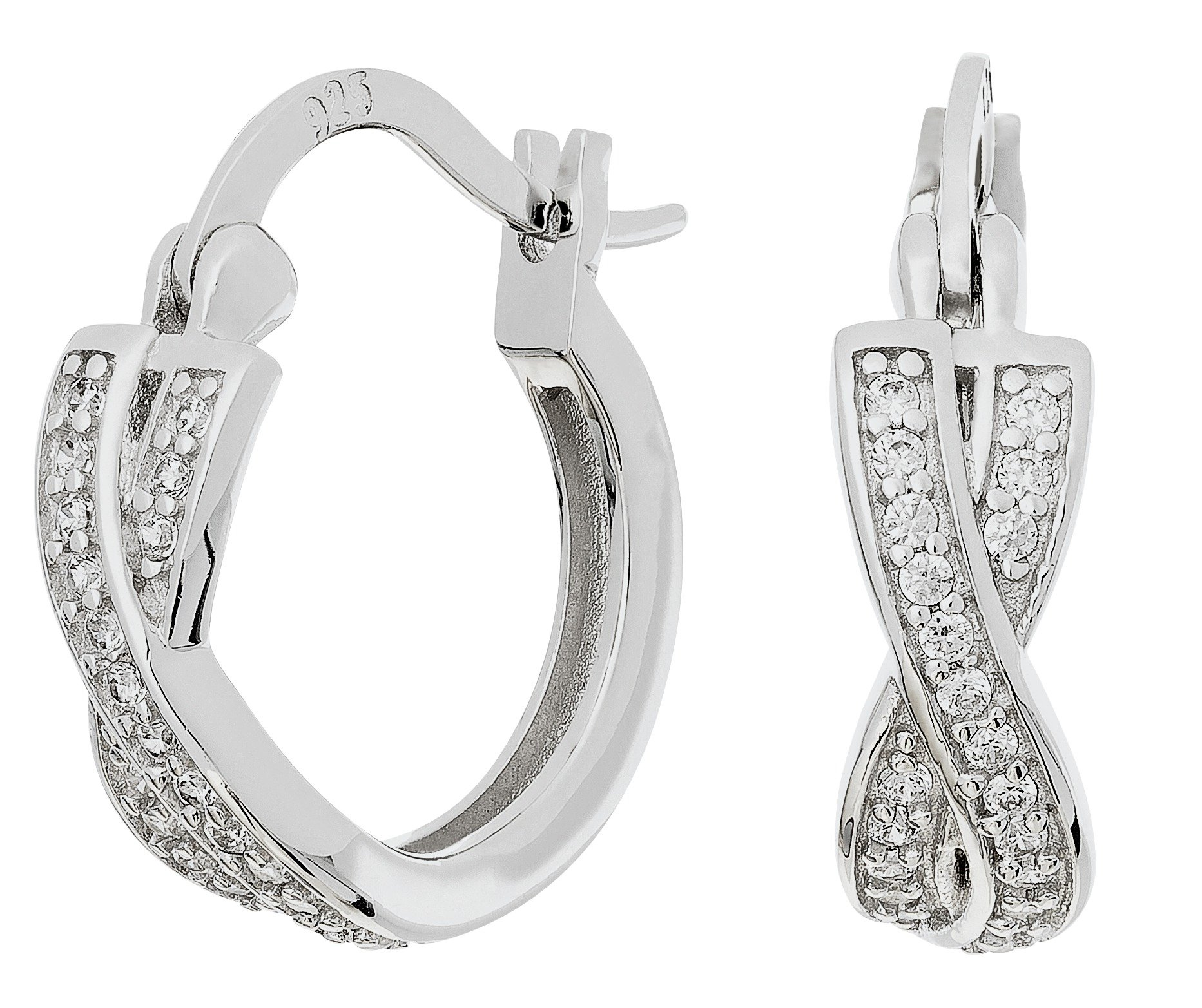 Revere Sterling Silver Cubic Zirconia Hoop Earrings