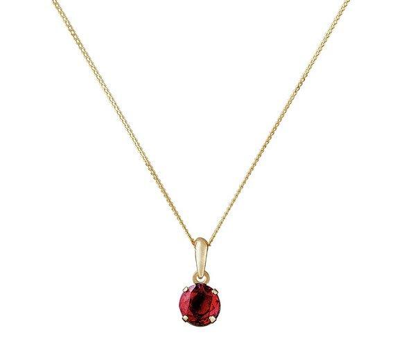 Revere 9ct Gold Garnet Pendant 16 Inch Necklace - January