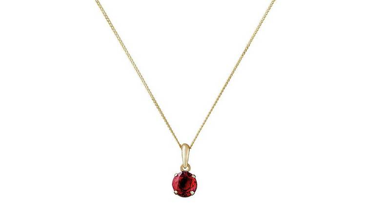 Revere 9ct Gold Garnet Pendant Necklace - January