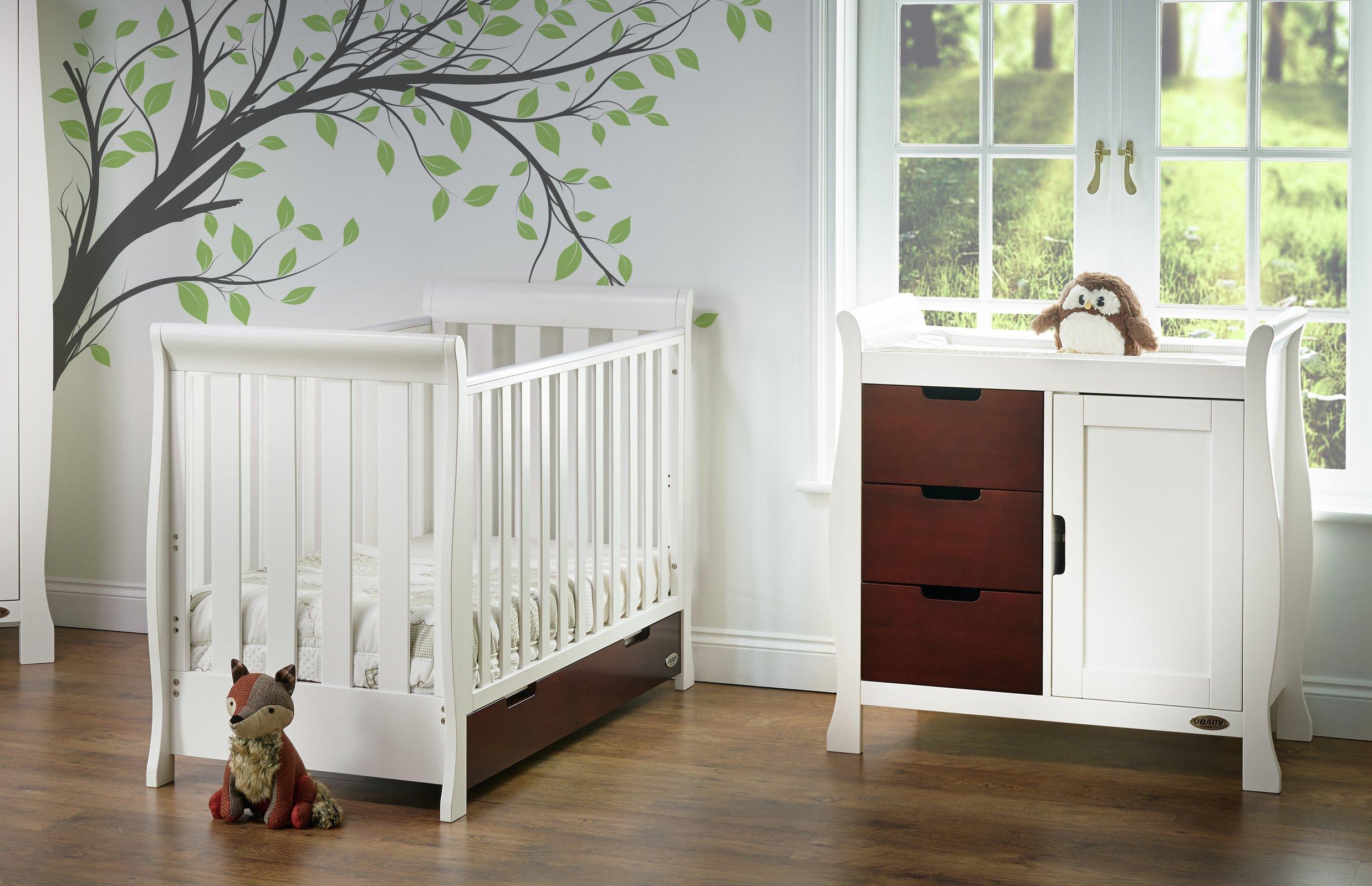 Obaby Stamford Mini 2 Piece Room Set - White with Walnut
