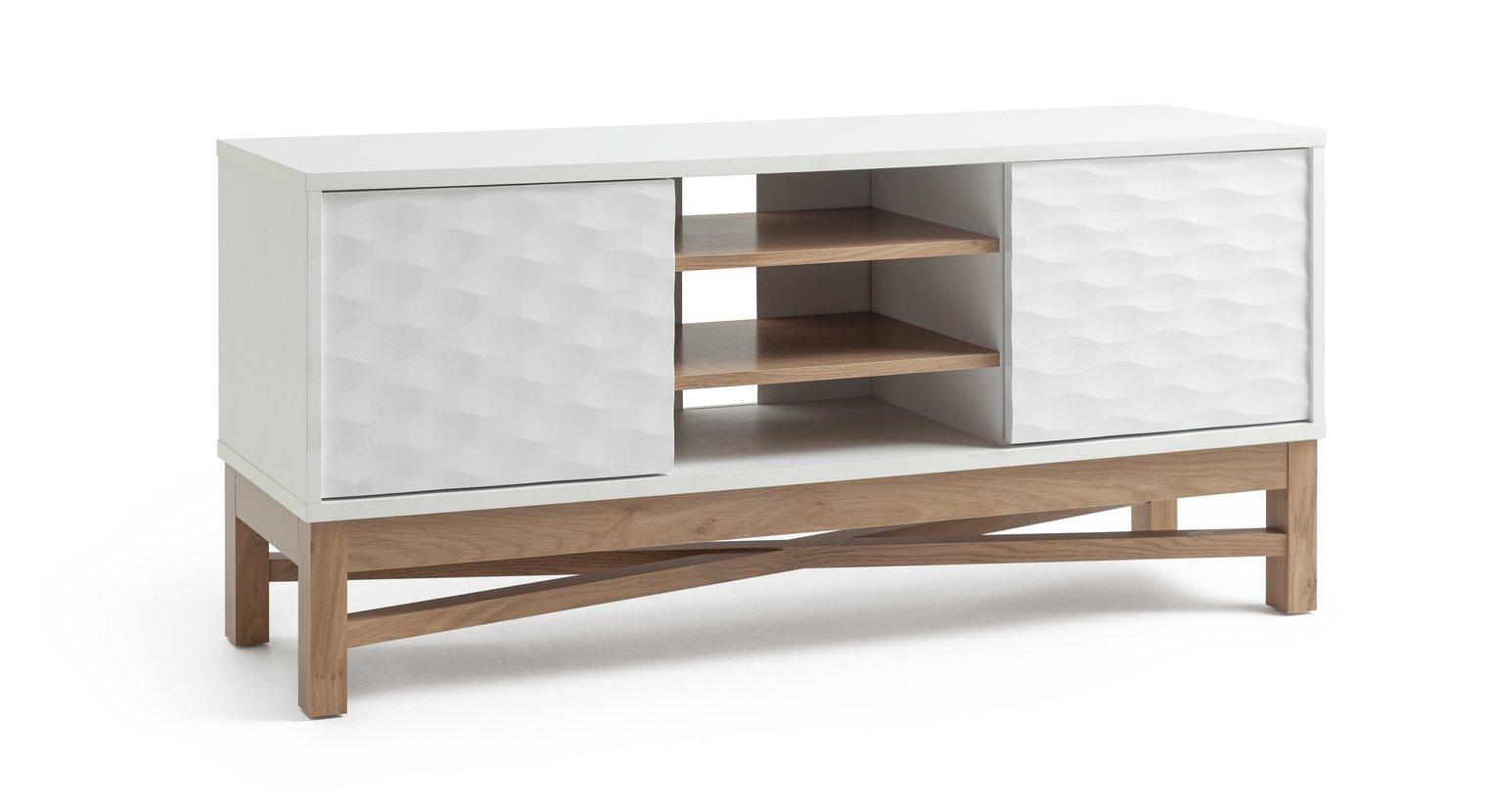 Argos Home Zander Textured TV Unit - White & Oak Effect