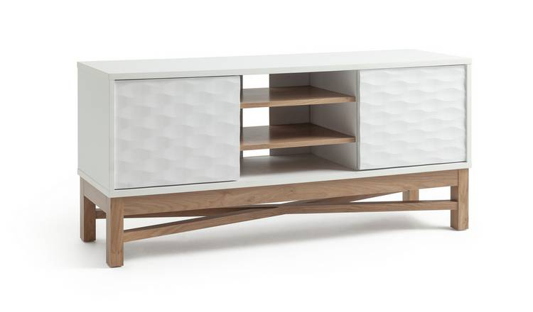Argos Home Zander Textured TV Unit - White & Oak Effect