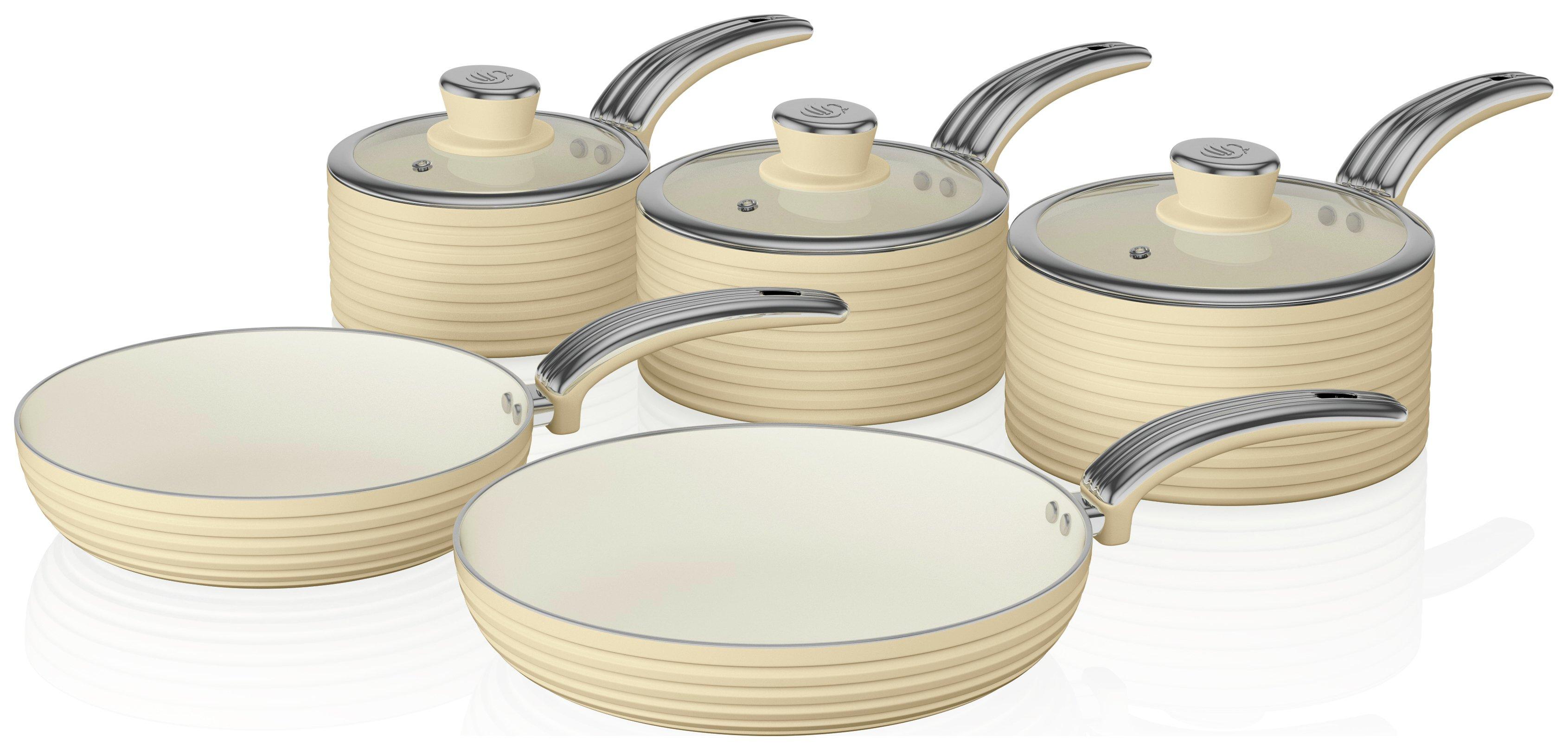 Swan Retro 5 Piece Pan Set - Cream