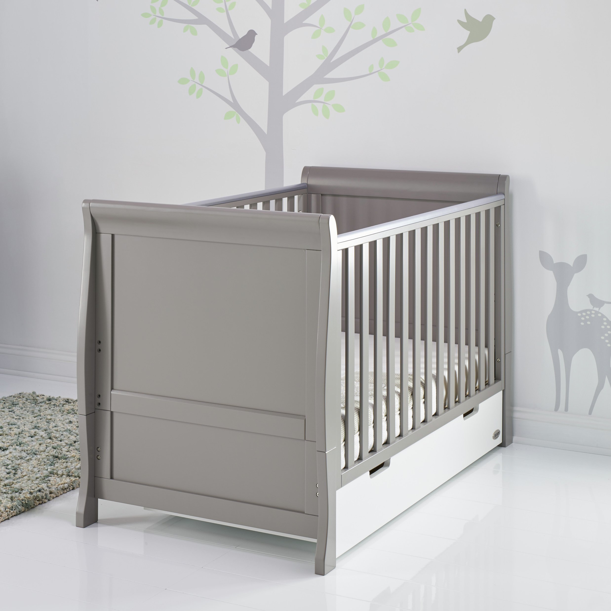 Obaby Stamford Sleigh Cot Bed - Taupe Grey & White