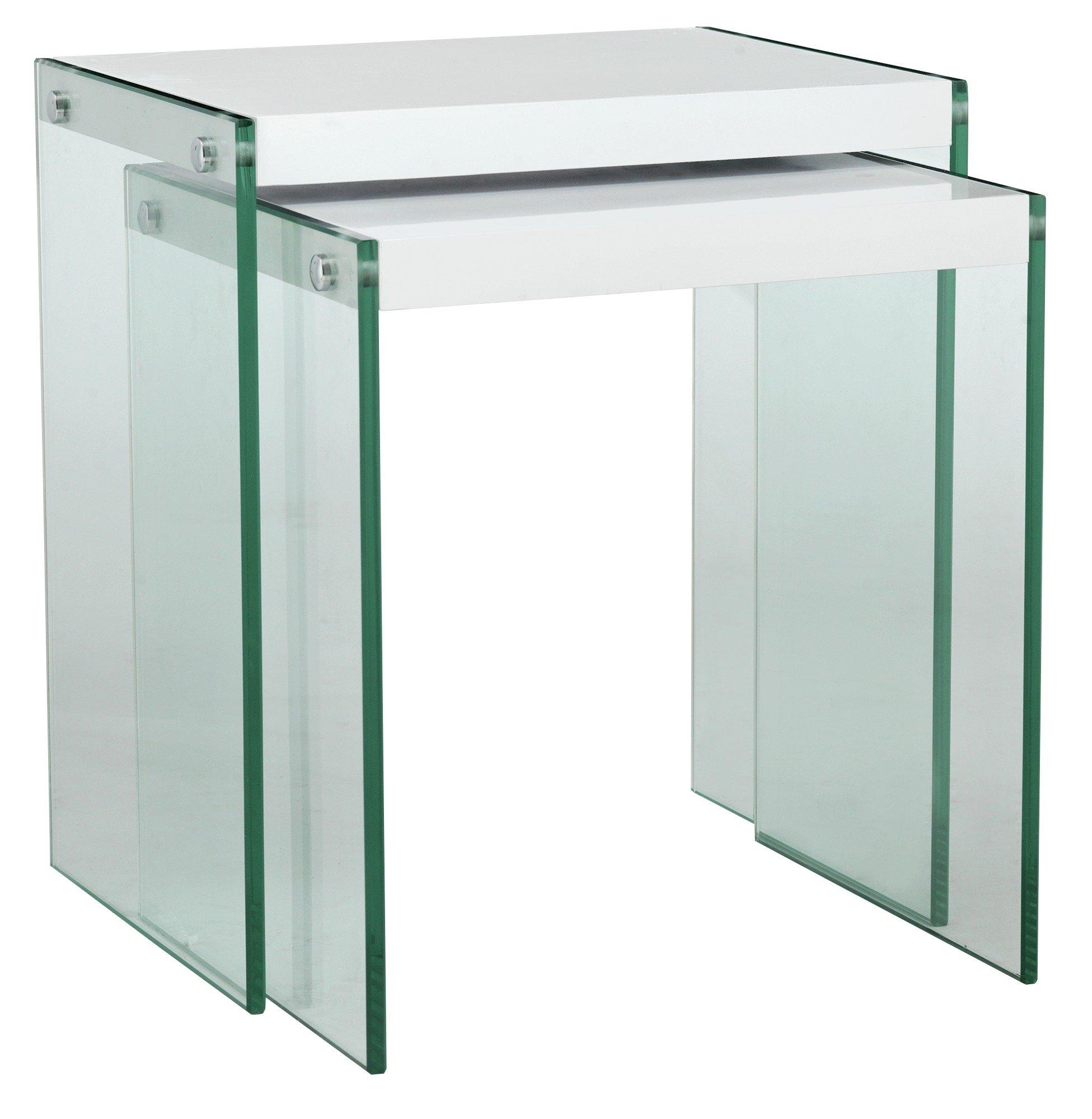 Argos Home Kaspa Nest of 2 Tables - White Gloss & Glass