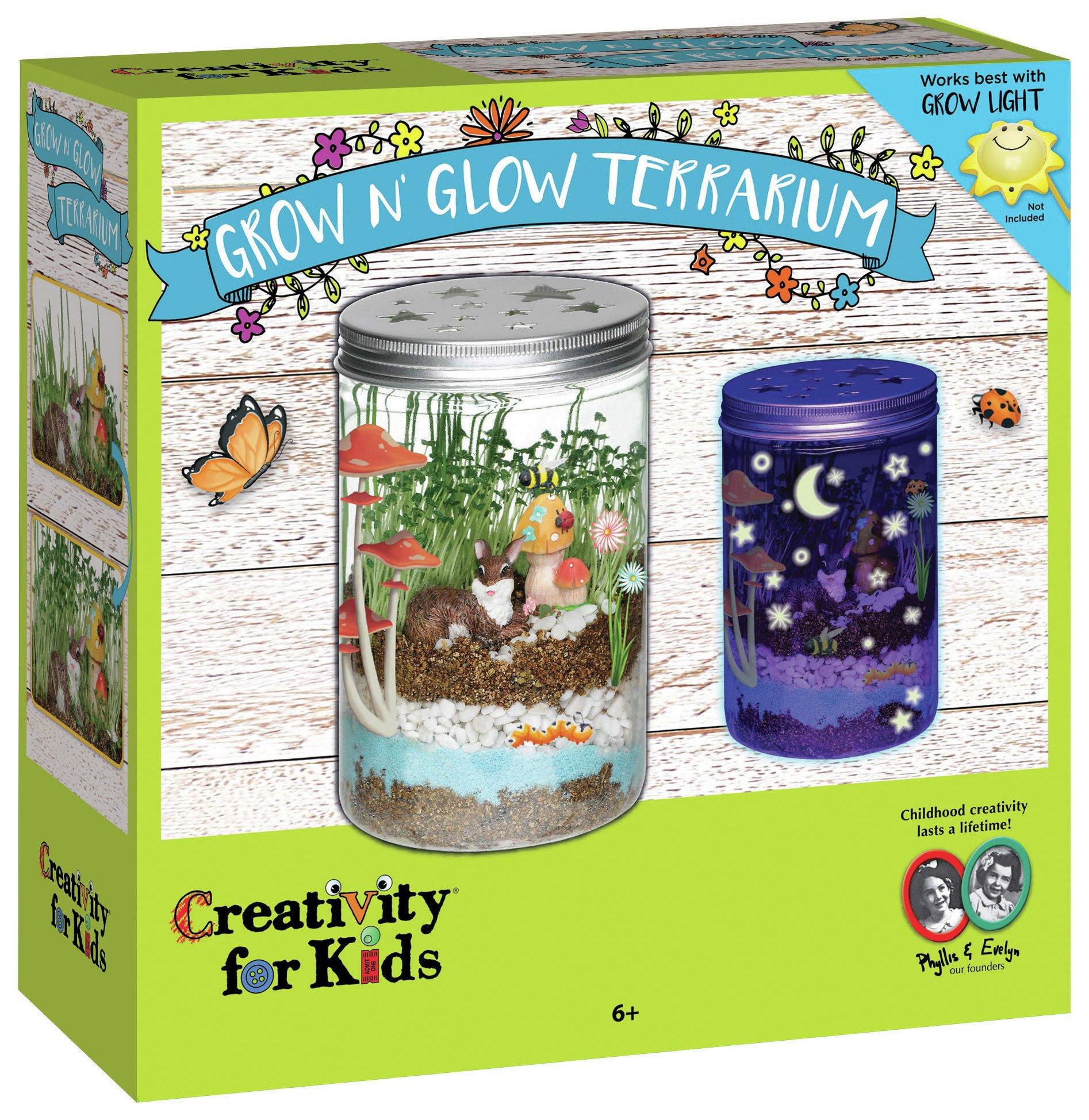 Image of Creativity for Kids GROW N' Glow Terrarium Set.