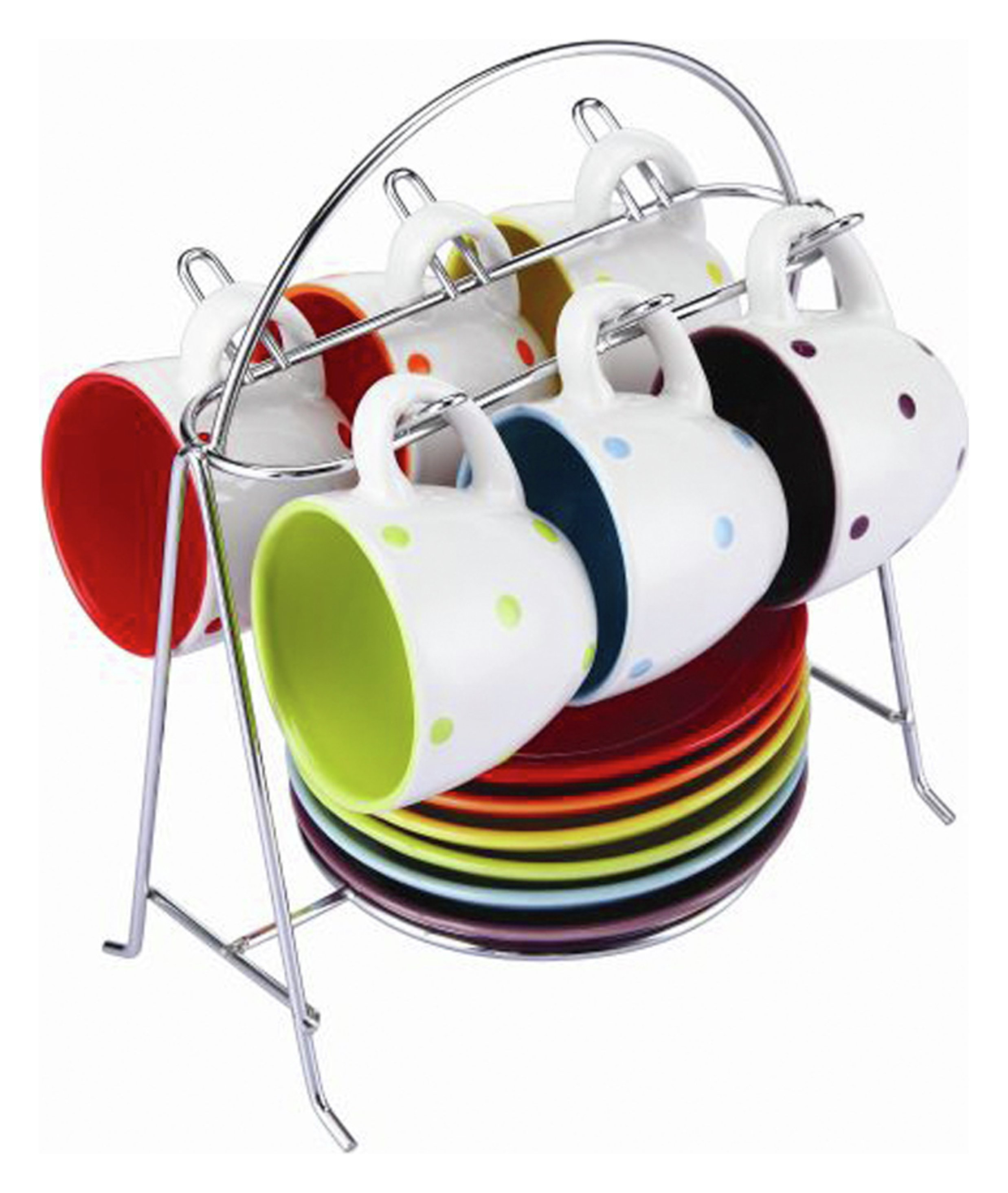 Zodiac Colours Set of 6 Espresso Cups with Stand - Spotty