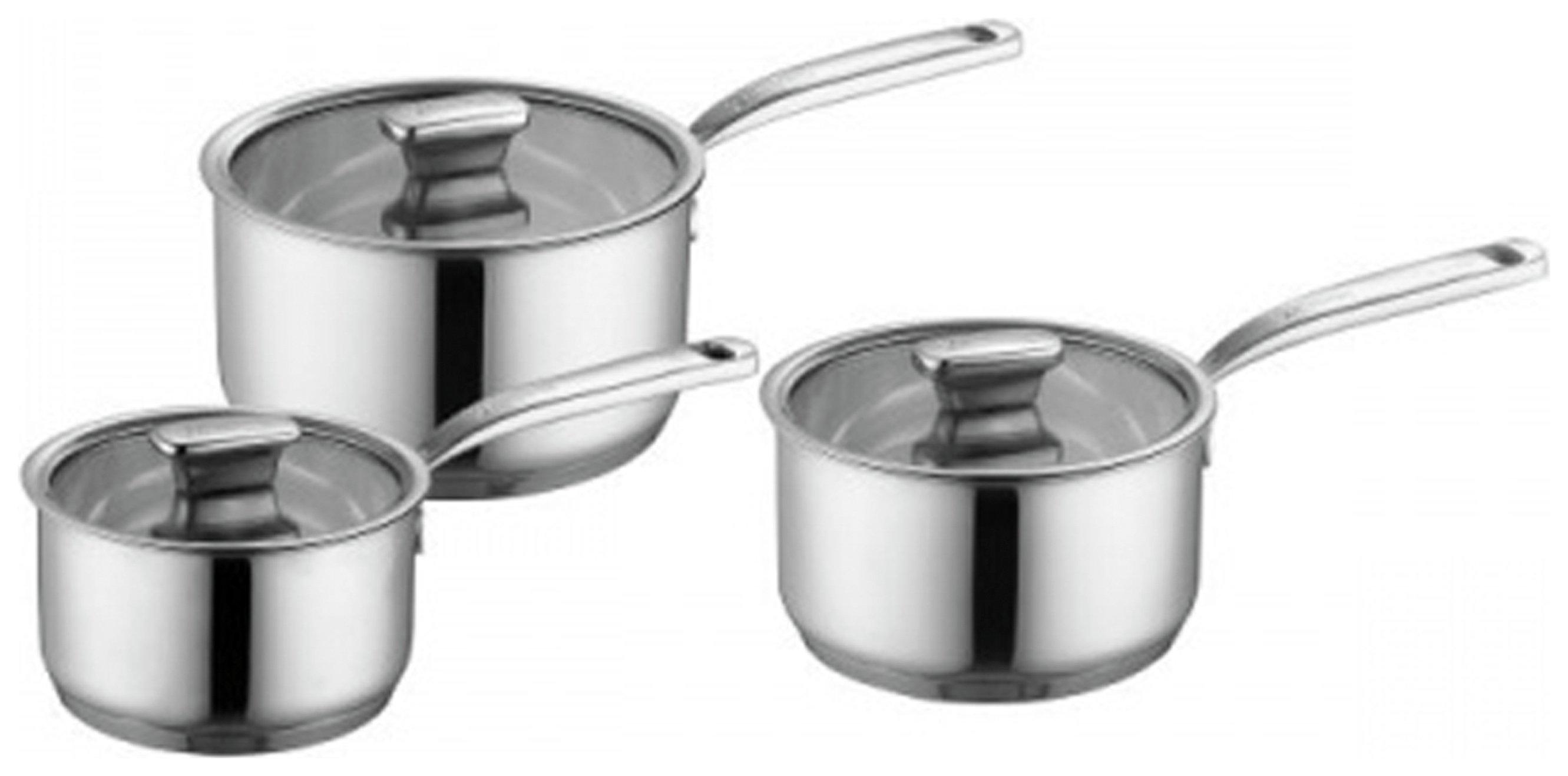 Zanussi Positano 3 Piece Stainless Steel Saucepan Set