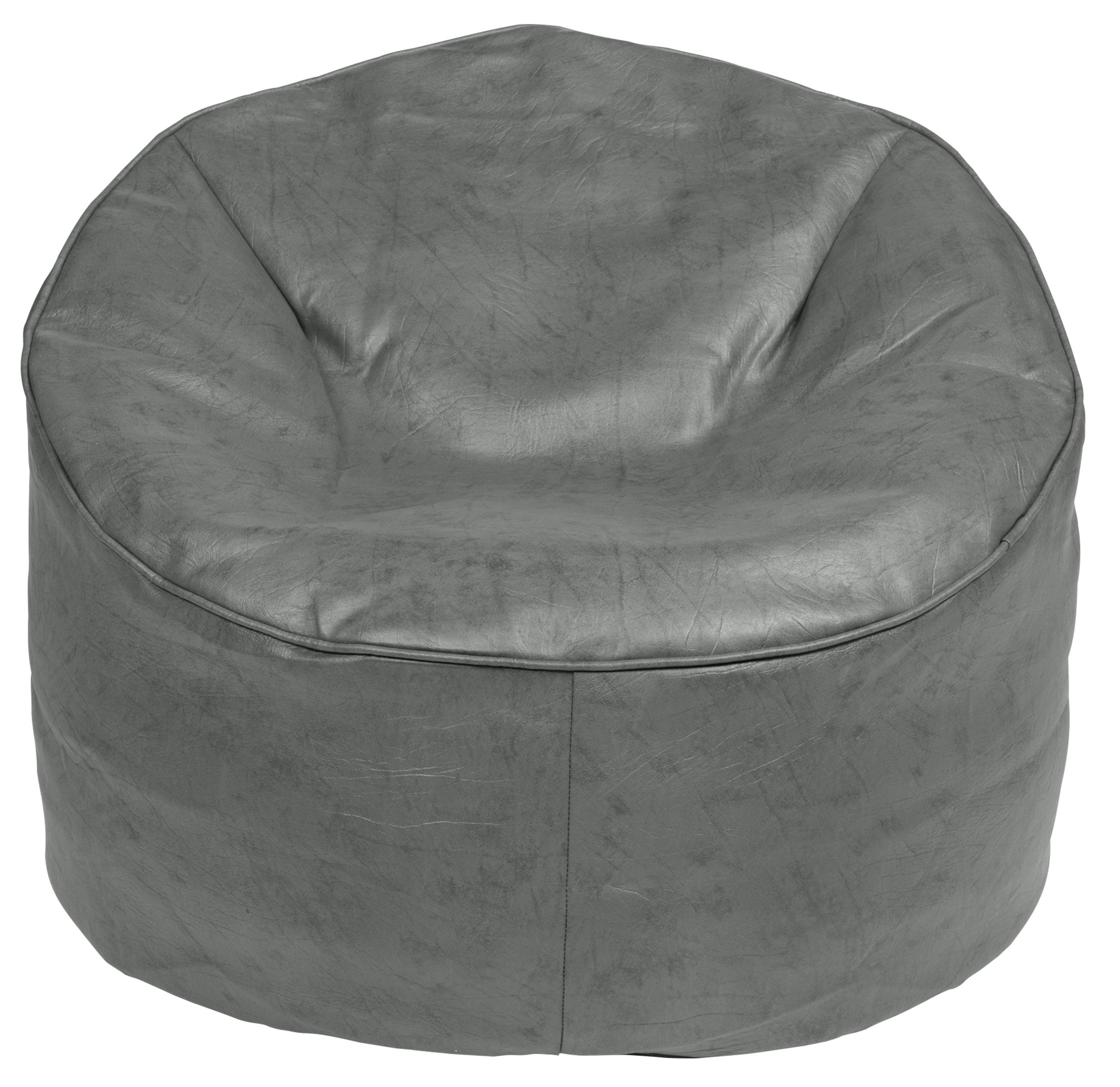 HOME Leather Effect Bean Chair - Grey.